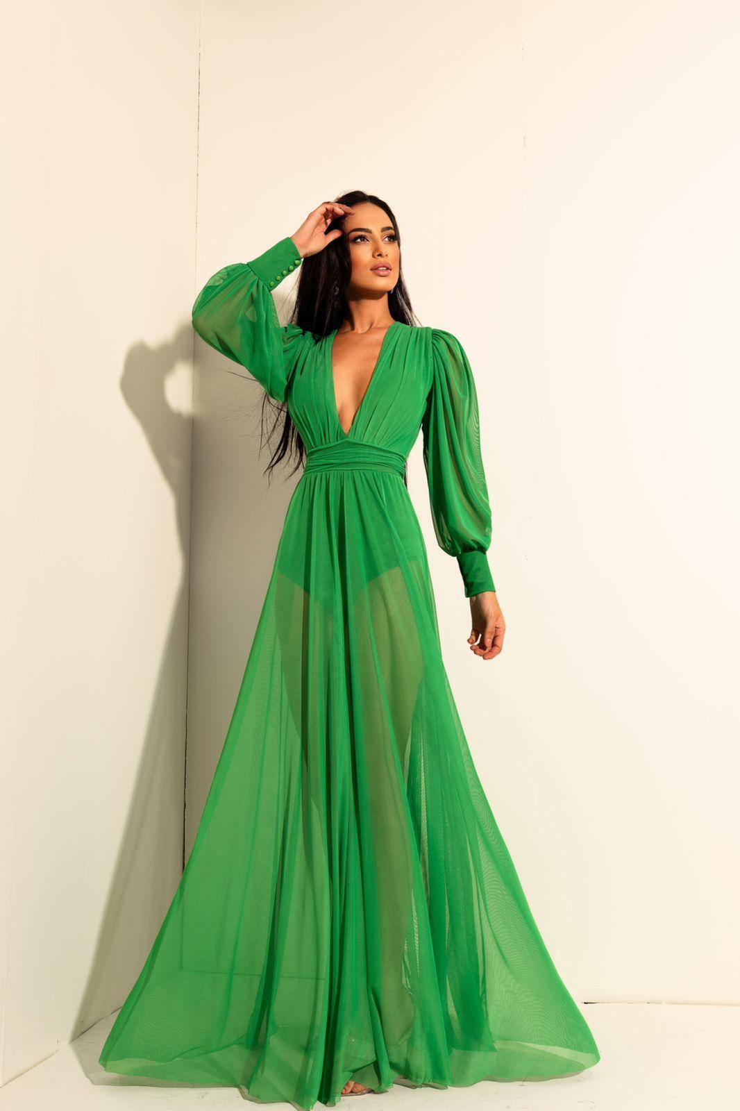 Vestido Cannes Verde Bandeira