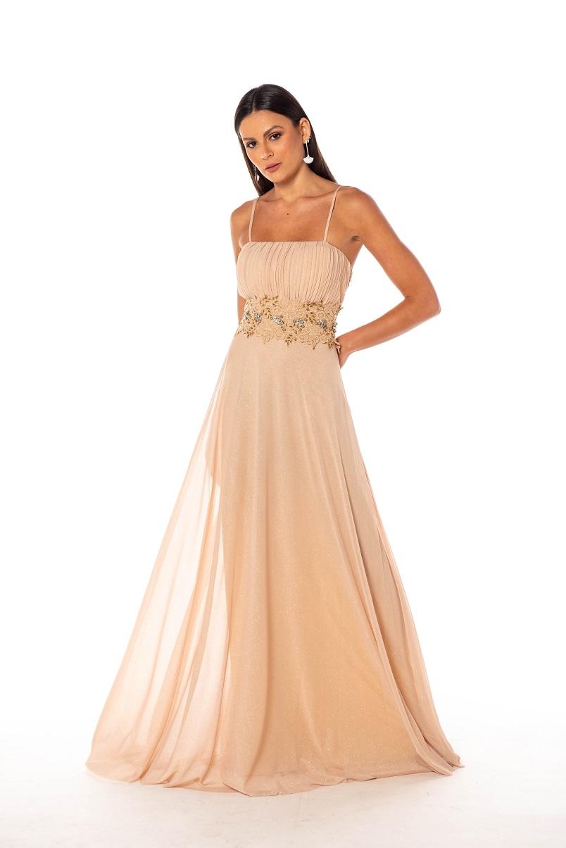 Vestido Goias Nude Dourado