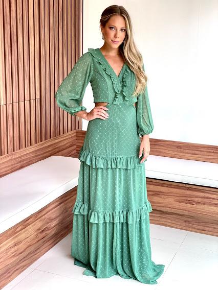 Vestido Ilha de Maui Verde oliva