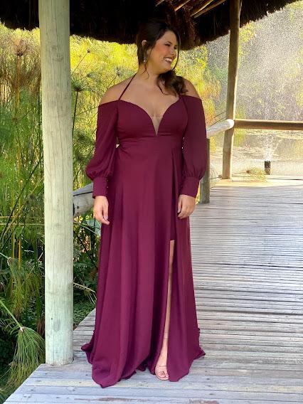 Vestido Lisboa Plus Size Marsala