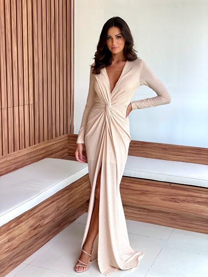 Vestido Maranhão Lurex Dourado com manga longa