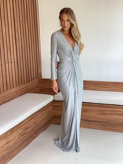 Vestido Maranhão Lurex Prata com manga longa