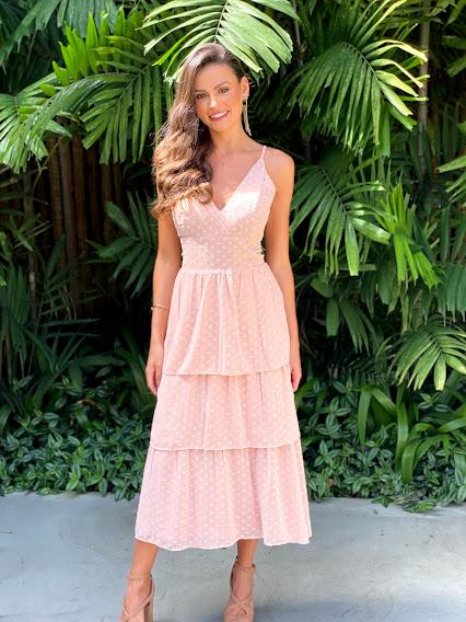 Vestido Mídi Santos Rosé