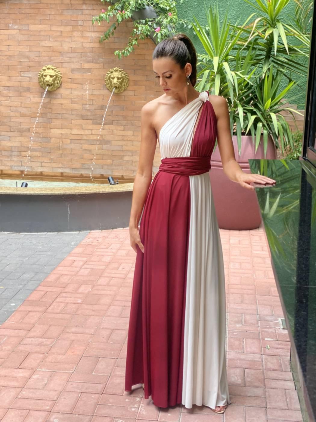 Vestido Multiformas Bicolor Off e Marsala
