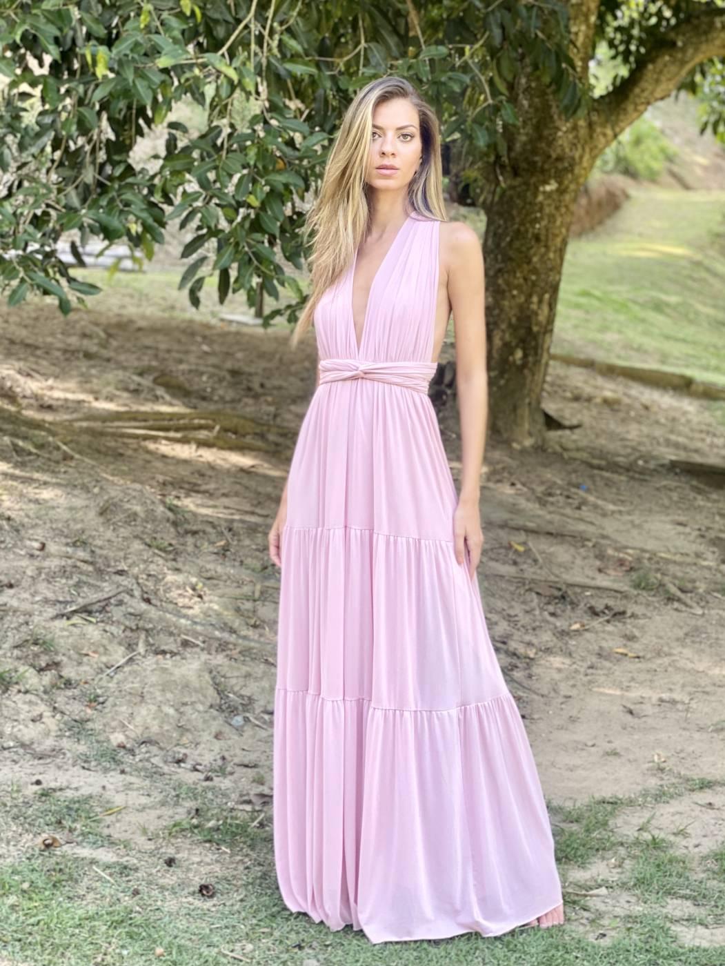Vestido Multiformas Camadas Rose