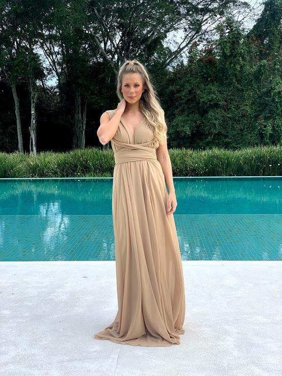 Vestido Multiformas Chifon Nude