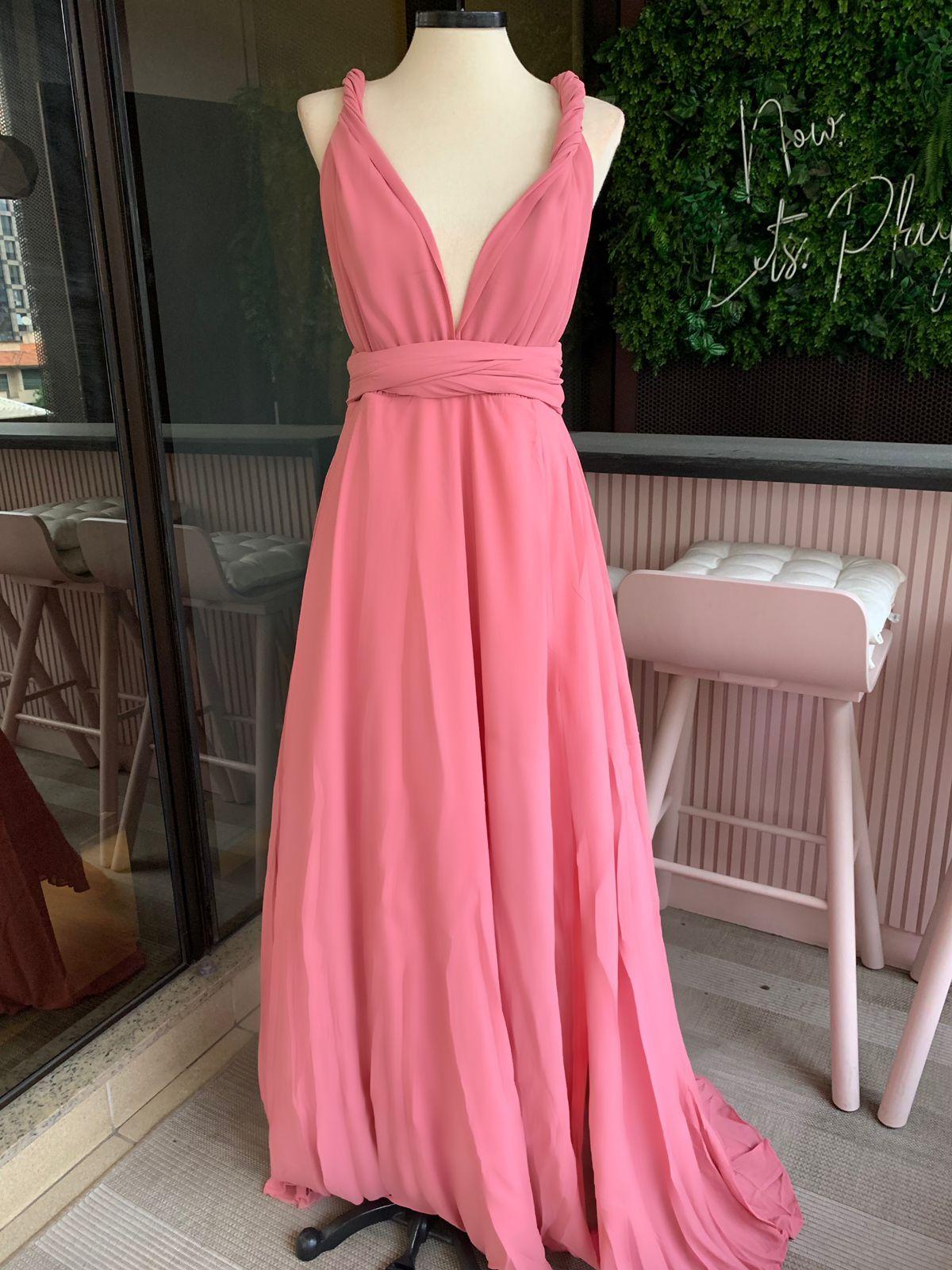 Vestido Multiformas Chifon Rosa Antigo