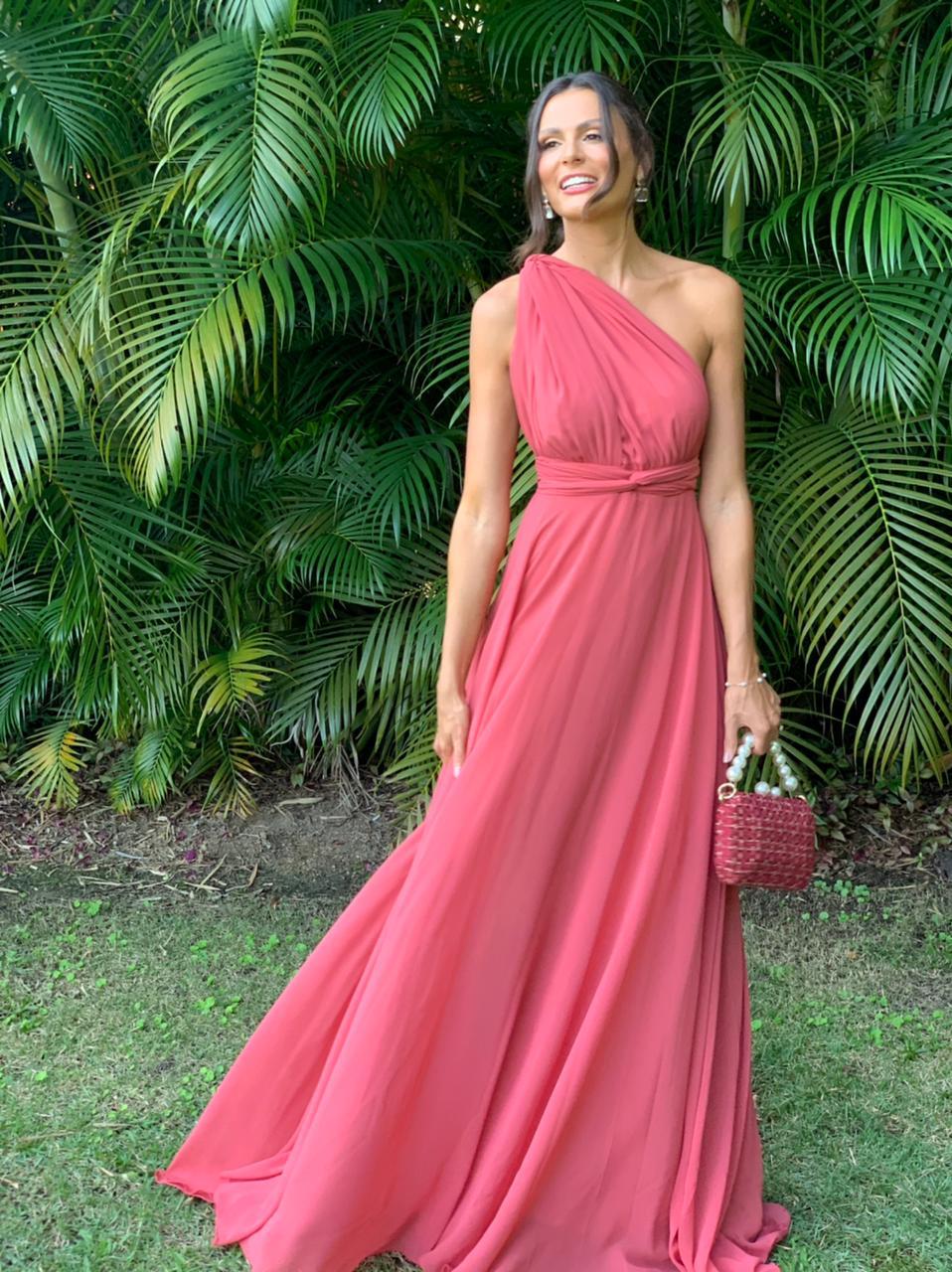 Vestido Multiformas chifon Rosa canela