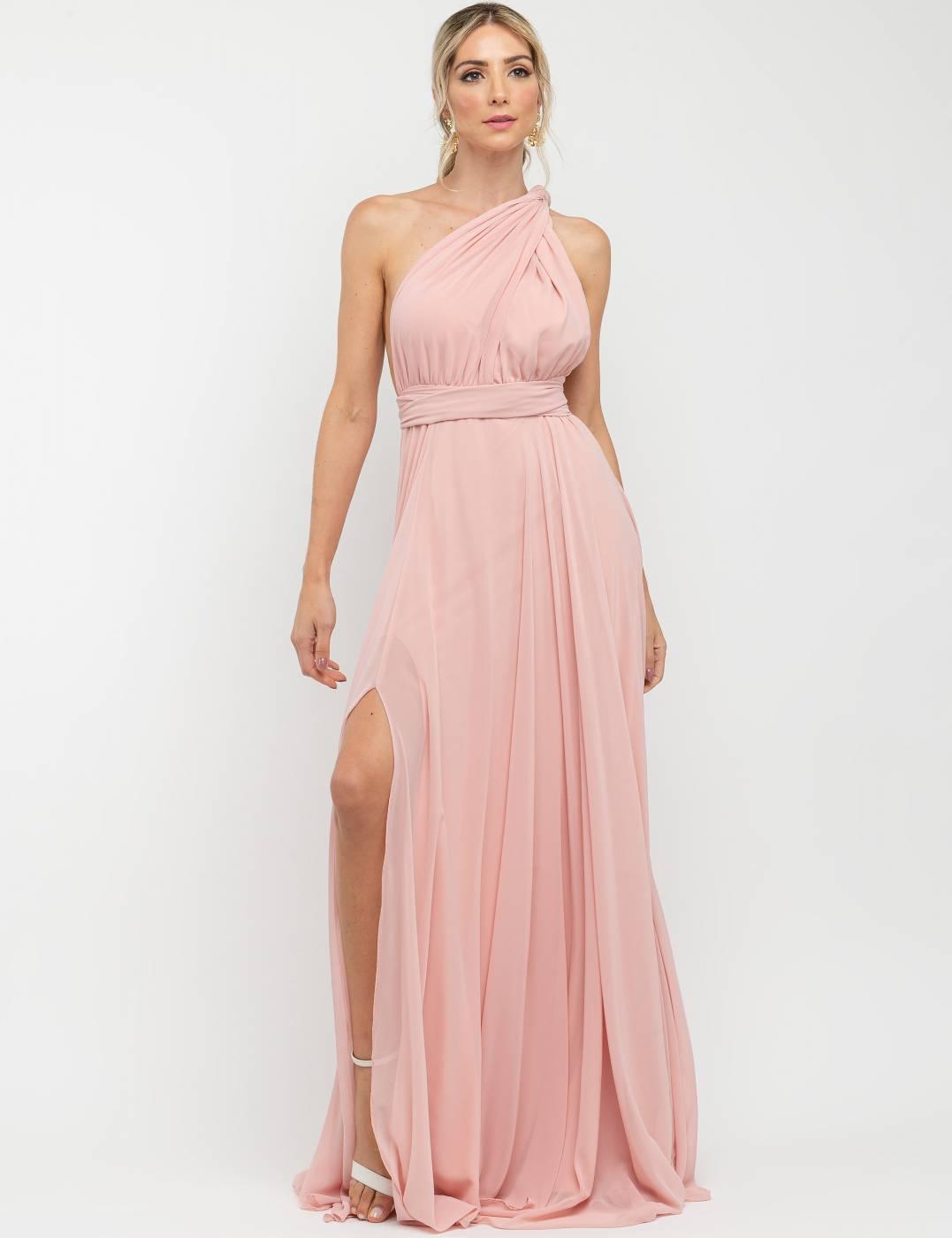Vestido Multiformas Chifon Rosé