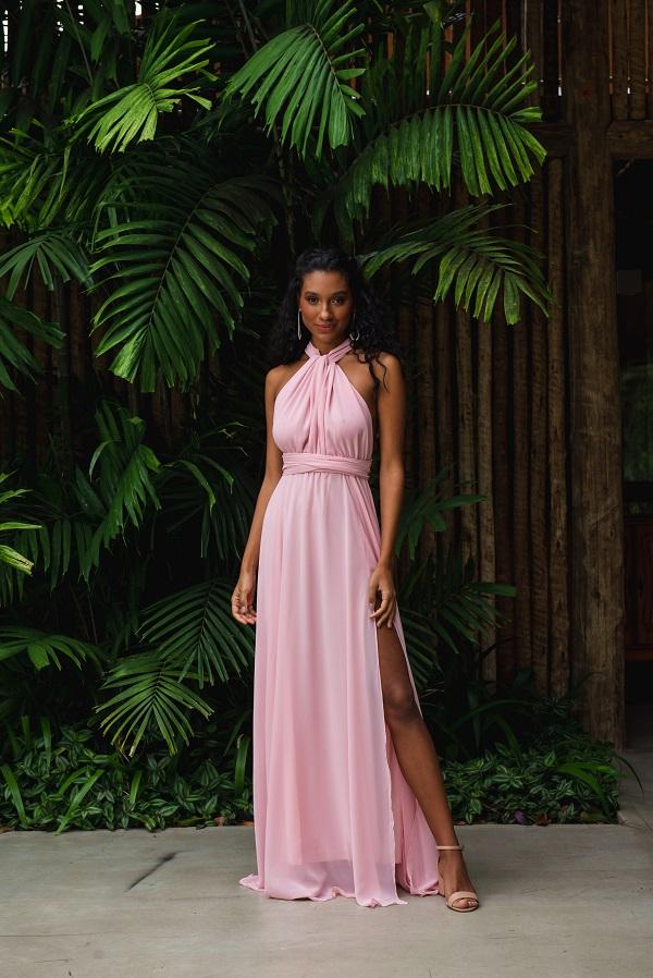 Vestido Multiformas Chifon Rosé Único
