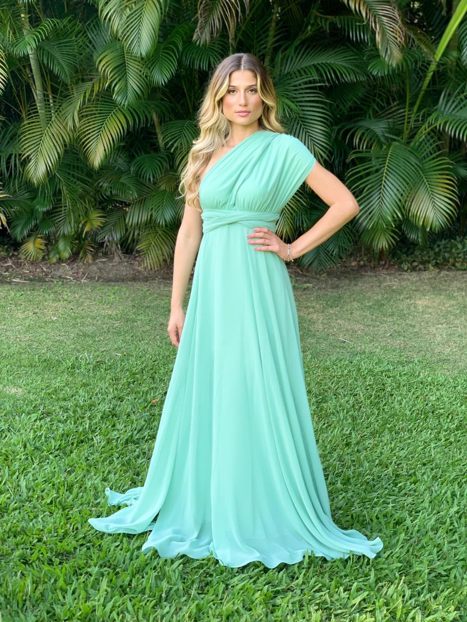 Vestido Multiformas Chifon Verde Menta