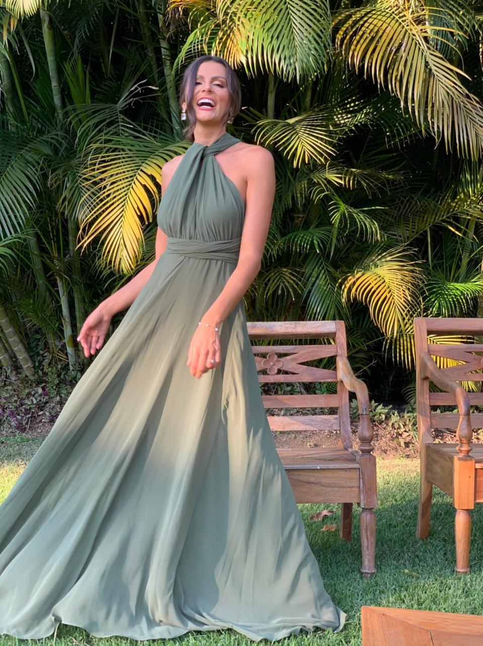 Vestido Multiformas Chifon Verde Oliva