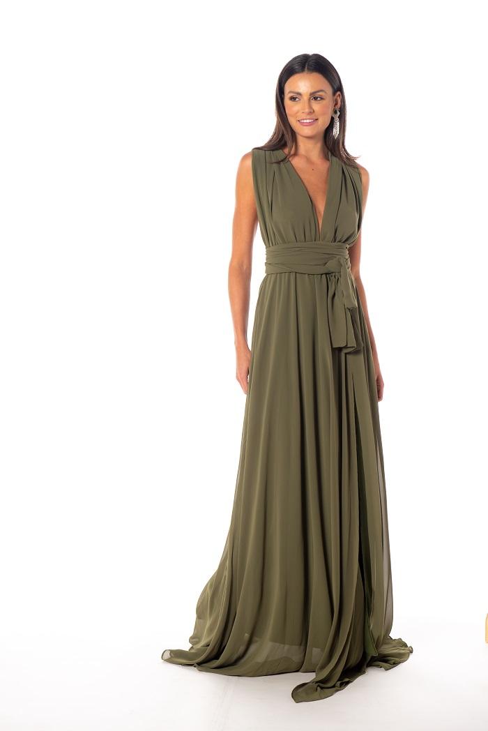 Vestido Multiformas Chifon Verde Oliva II