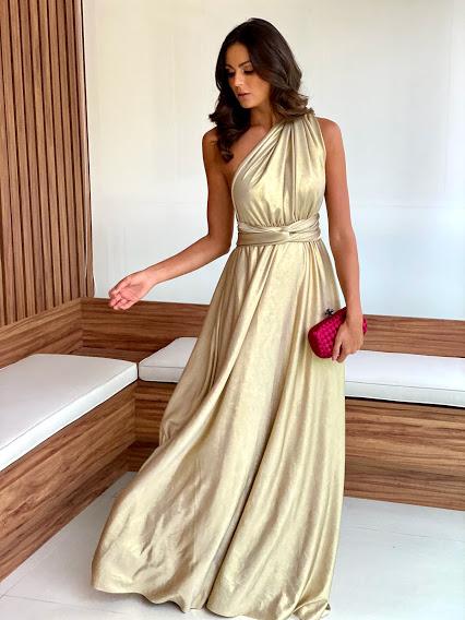 Vestido Multiformas Dourado