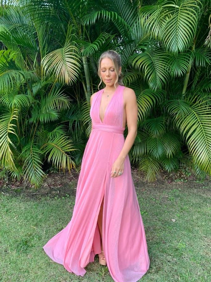 Vestido Multiformas Lurex Rosa