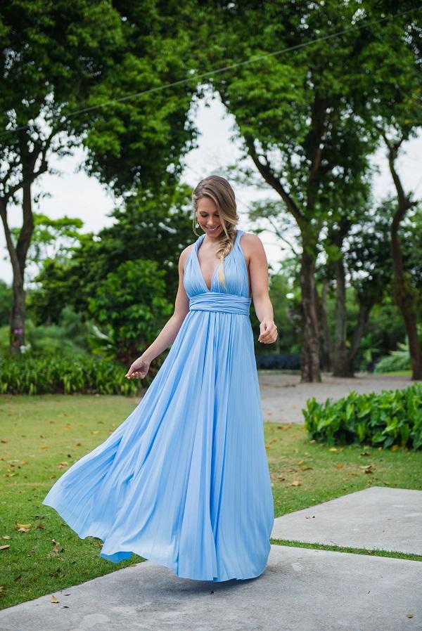 Vestido Multiformas Plissado Azul Serenity