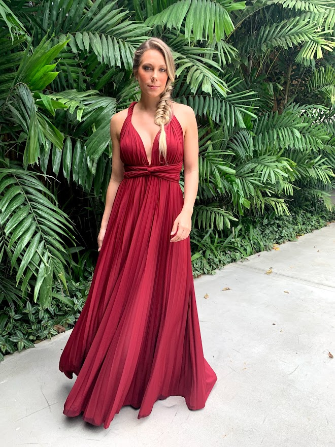 Vestido Multiformas Plissado Marsala