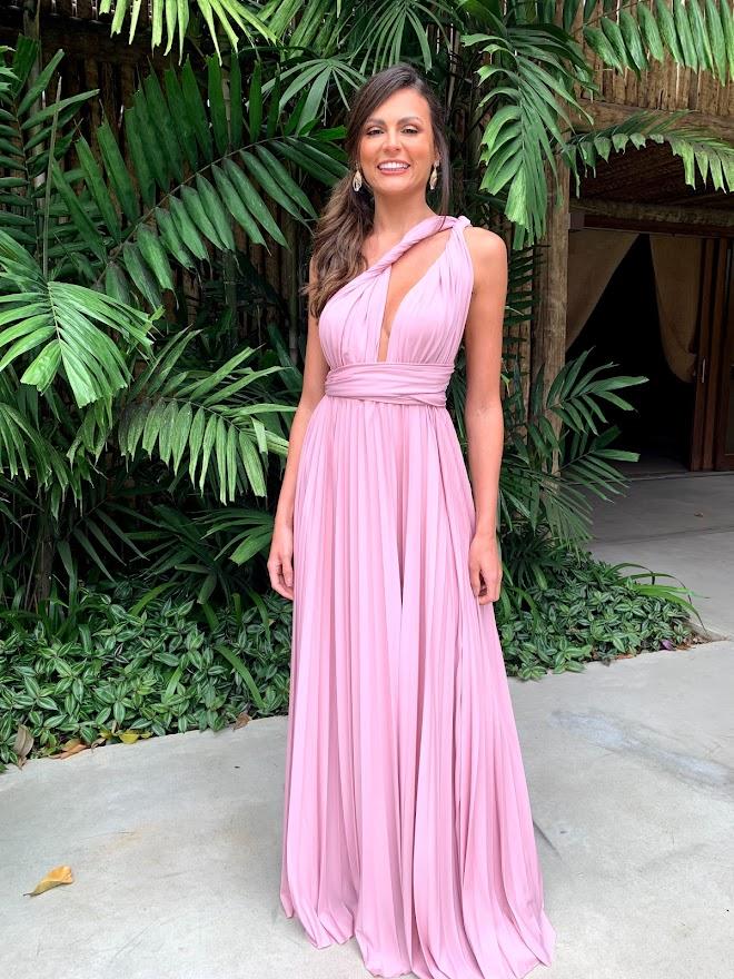 Vestido Multiformas Plissado Rosé