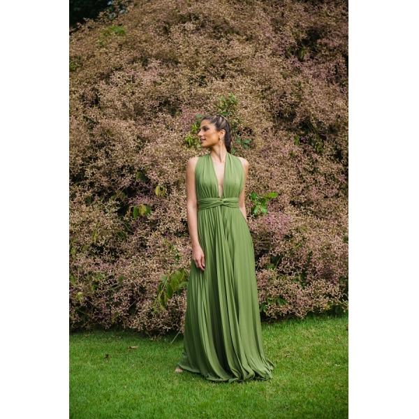 Vestido Multiformas Plissado Verde Oliva