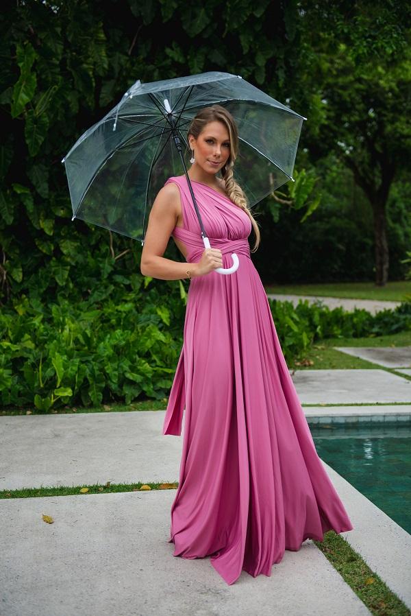 Vestido Multiformas Rosa Canela Único