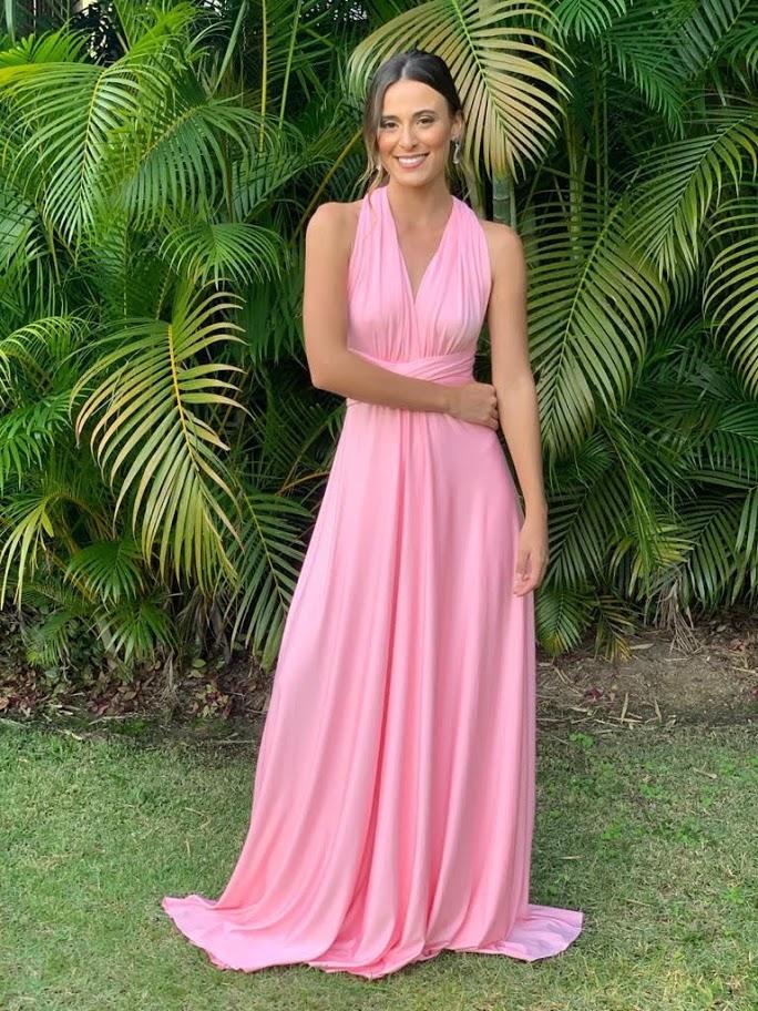 Vestido Multiformas Rosa Danone Malha