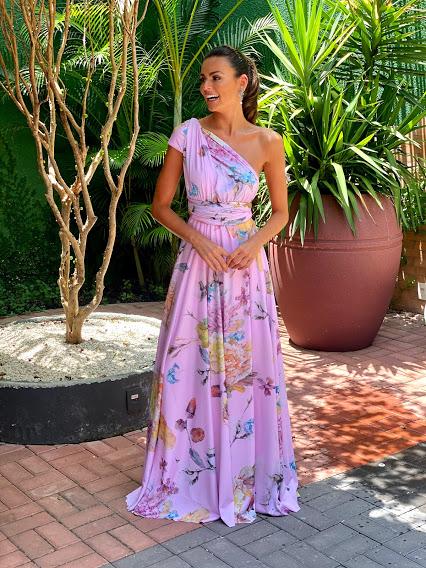 Vestido Multiformas Rosa Estampado Floral