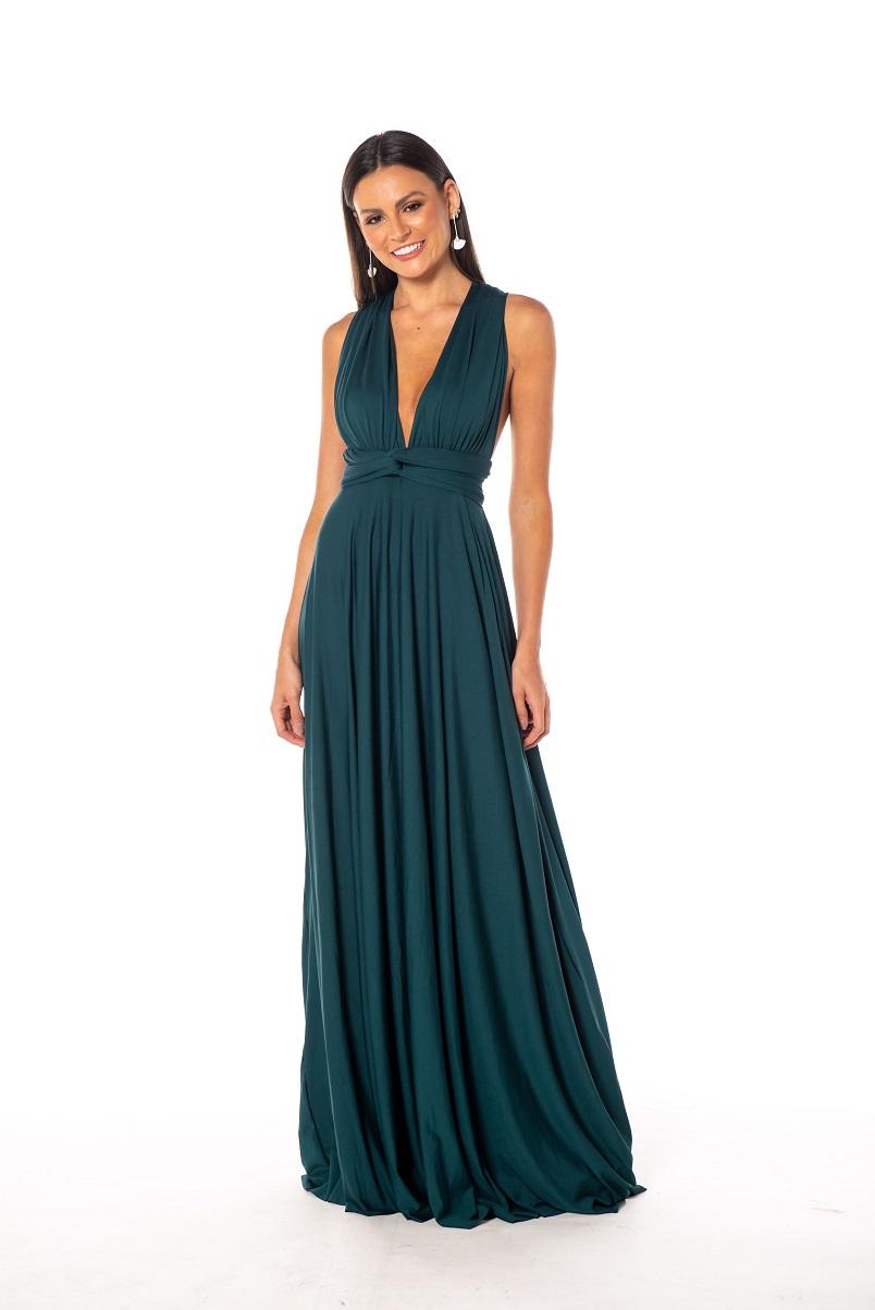 Vestido Multiformas Verde Esmeralda