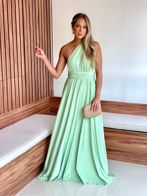 Vestido Multiformas Verde Menta Malha