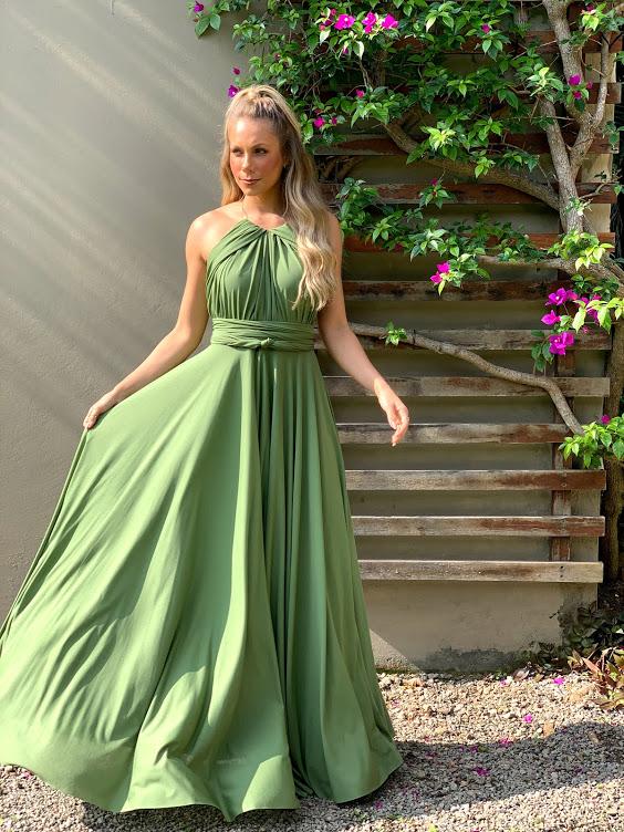 Vestido Multiformas Verde Oliva