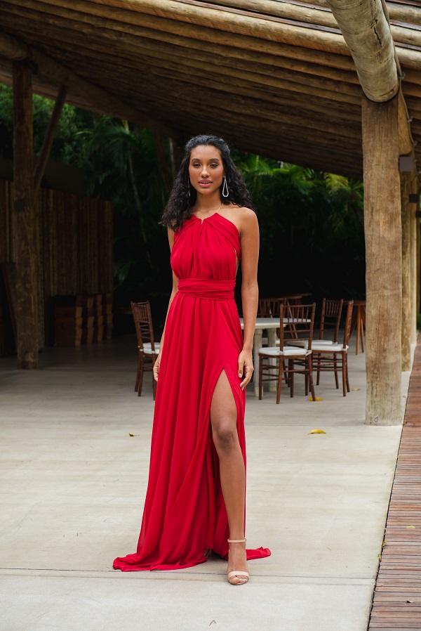 Vestido Multiformas Vermelho Único