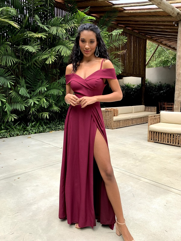 Vestido Nicarágua Bordô