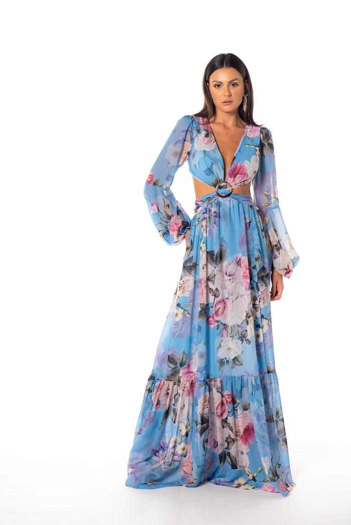 Vestido Rússia Floral Azul Serenity