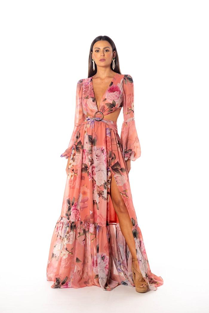 Vestido Rússia Rosé Estampado