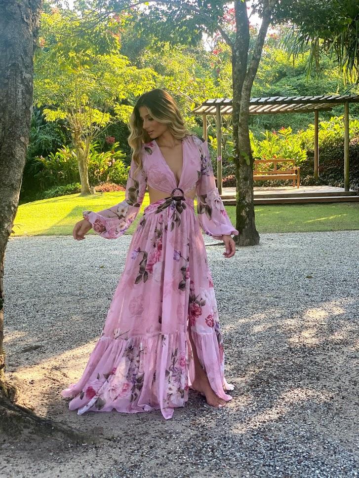 Vestido Russia Rosé Estampado