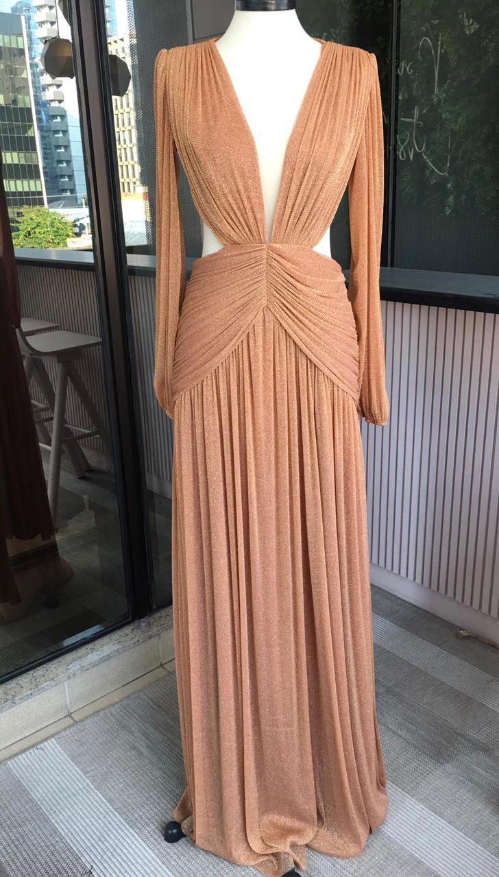Vestido Singapura Lurex Terracota
