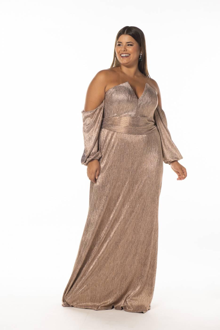 Vestido Suécia Plus Size Rosé Gold