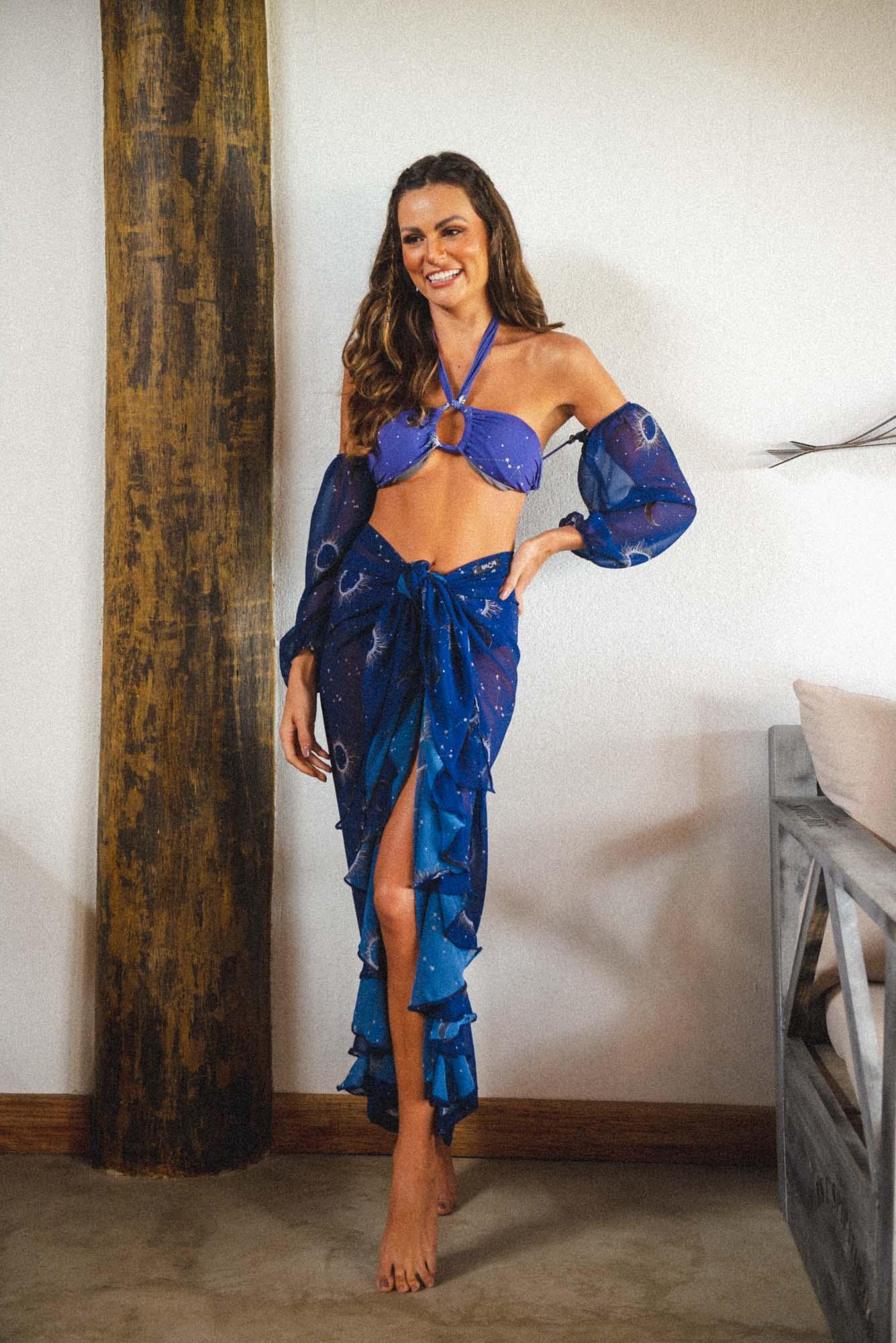 Saia Pareô Tulum Aquariana Azul