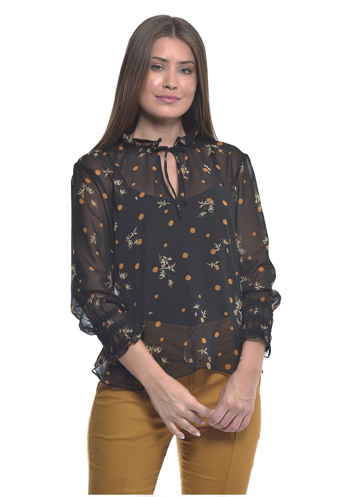 Camisa Preto e Mostarda