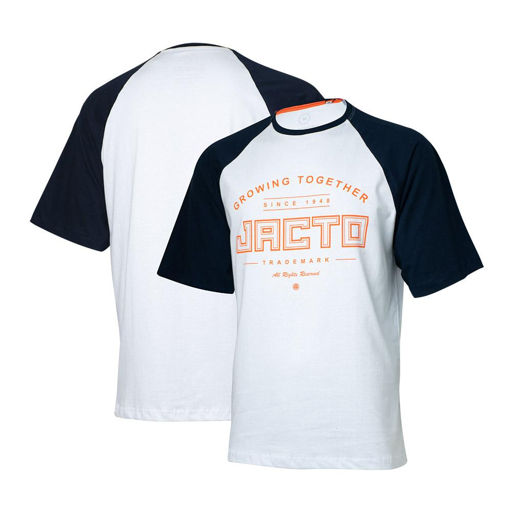 Camiseta Masc. Jacto Growing Together Raglan Branca/Azul Marinho