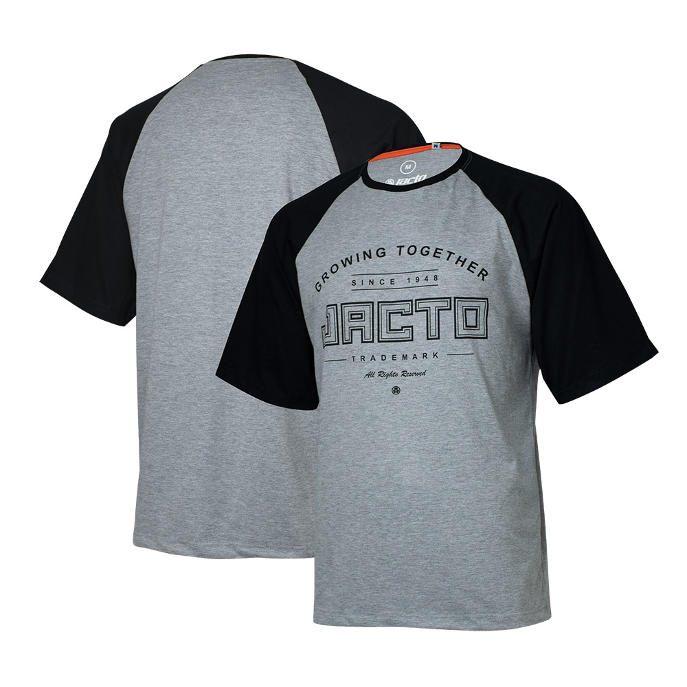 Camiseta Masc. JACTO Growing Together Raglan - Cinza Mescla/Preta