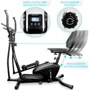 Elíptico e Bicicleta Ergométrica PodiumFit EH100 2 em 1 Silencioso