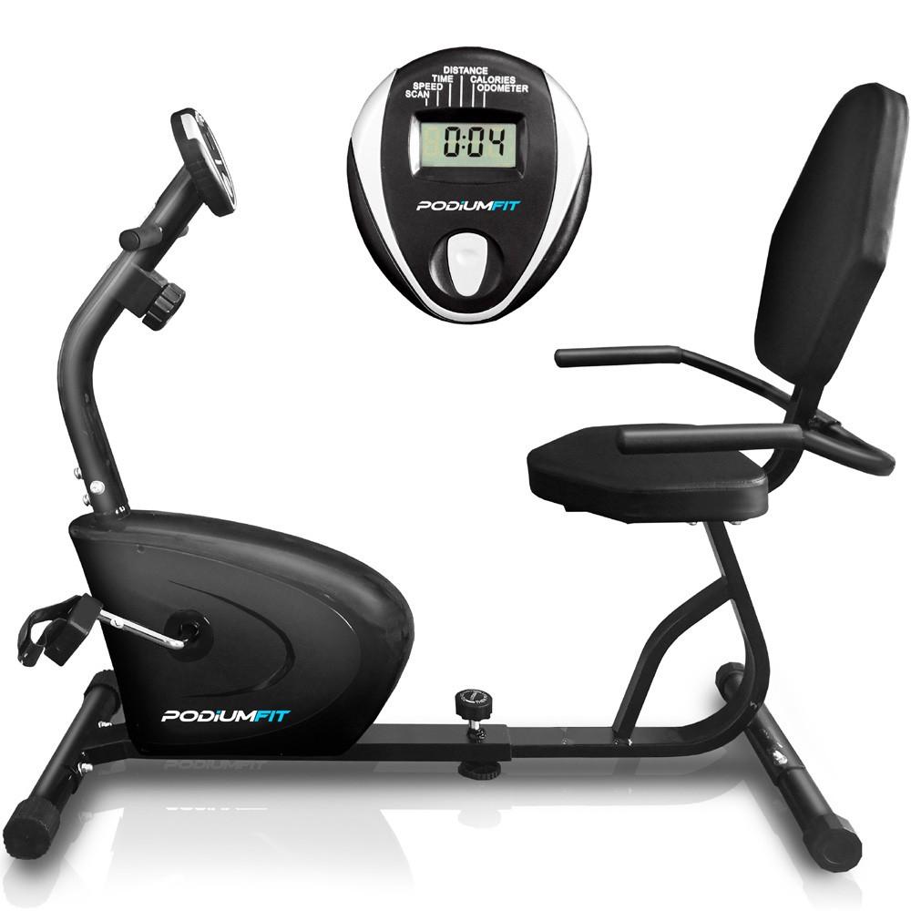 Bicicleta Ergométrica Horizontal PodiumFit H90 - Magnética - 8cargas - Silenciosa