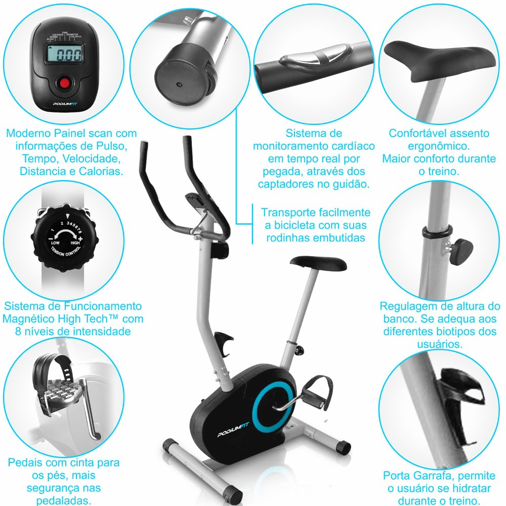 Bicicleta Ergométrica PodiumFit V200 - Magnética - 8cargas - Silenciosa