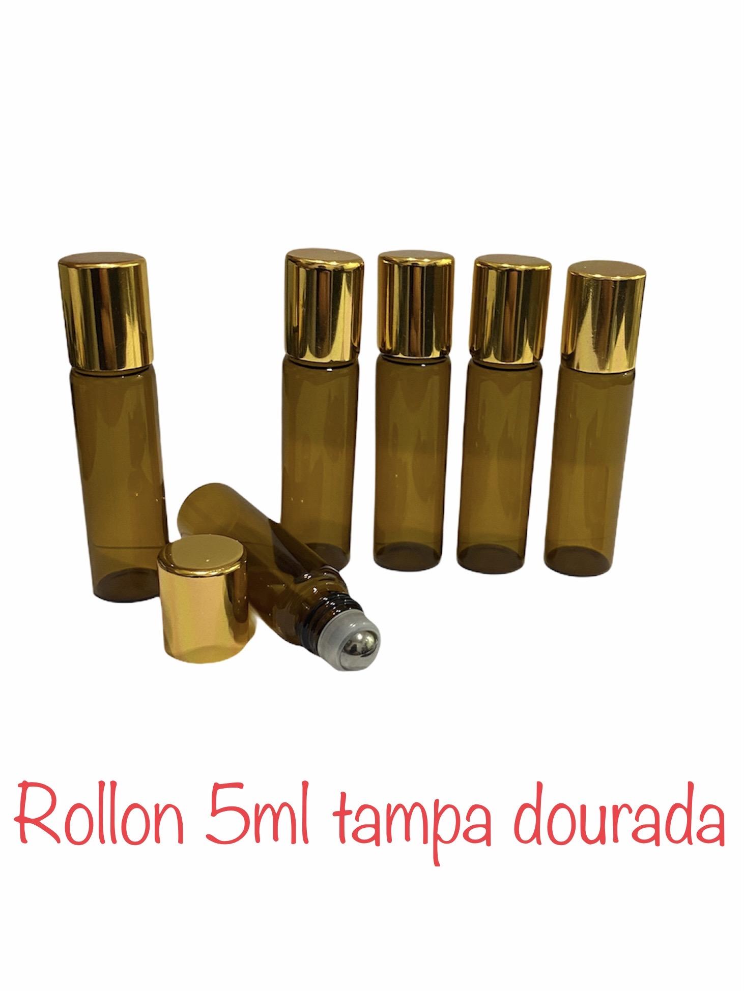 01 Frasco Vidro Âmbar Rollon 5ml Tampa Dourada