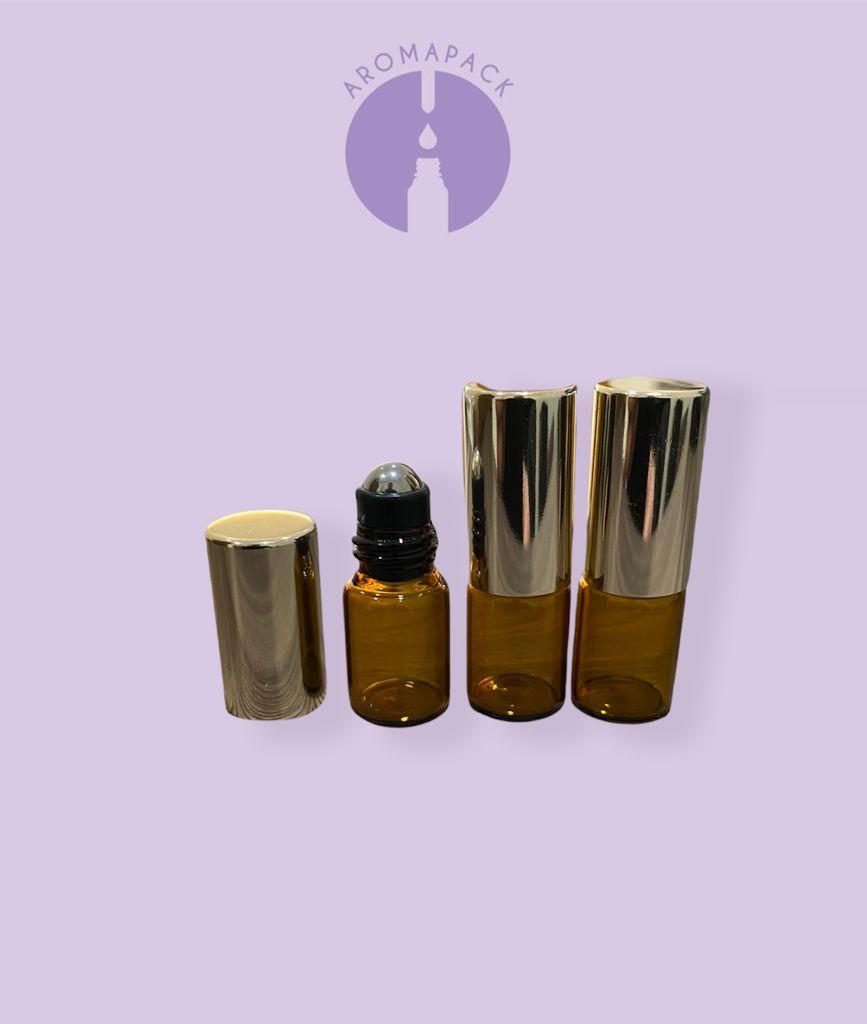 100 frascos vidro âmbar Rollon 2ml com 01 funil e 01 abridor