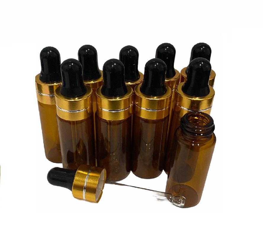 10 frascos vidro âmbar  5ml conta gotas com tampa dourada e bulbo preto.