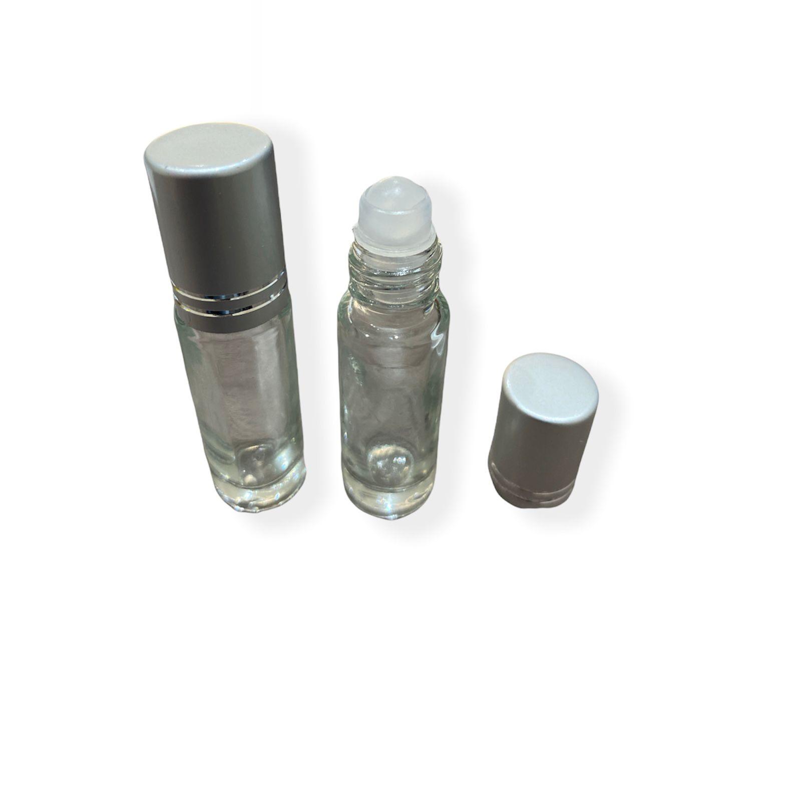 10 Frascos Vidro Rollon Incolor 5ml tampa prata e esfera plástica