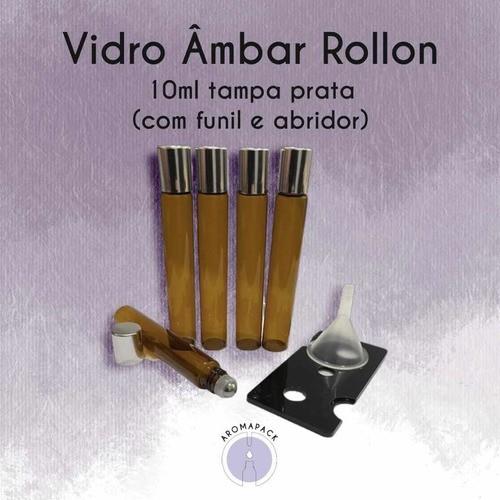 10 Rollon 10ml Tampa Prata Com Funil E Abridor Plástico