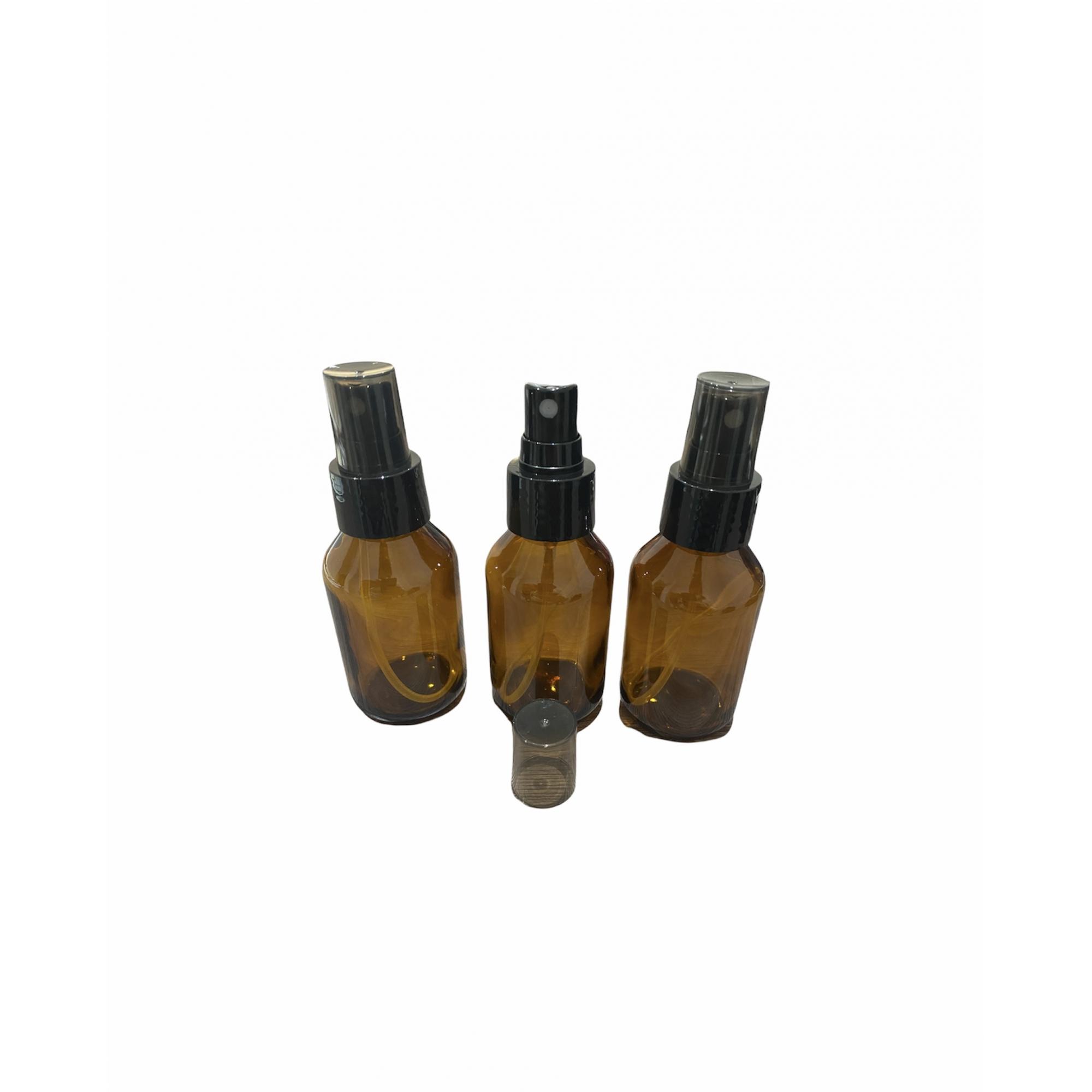 15 Frascos Vidro Âmbar 60ml Spray Válvula Preta Tp Incolor