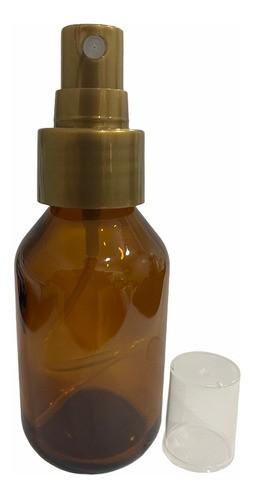 15 Frascos Vidro Âmbar Spray 60ml Válvula Dourada